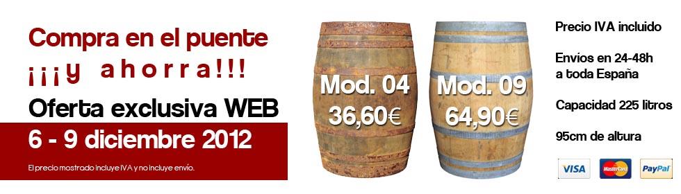 Oferta barricas usadas de madera 225 litros. Barricas baratas.