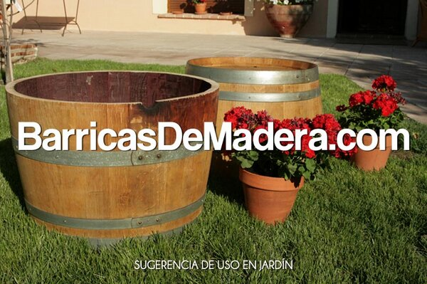 Barrica macetero barril jardinera