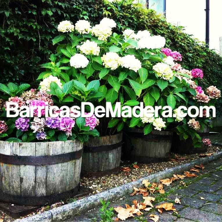 jardineras hechas con barricas maceteros barriles decoracion