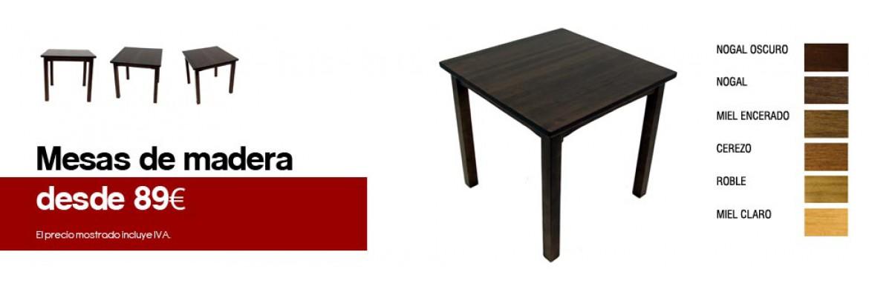 Mesas de madera de pino