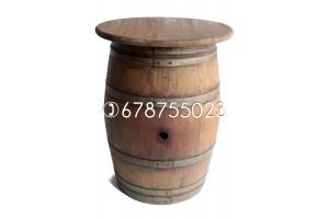 Barrica-mesa (con tapa) de 225 litros - Acabado: barniz nogal