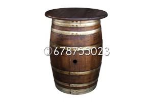 Barrica-mesa (con tapa) de 225 litros - Acabado: barniz nogal oscuro