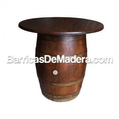 Barrica mesa (con tapa de Ø100cm) de 225 litros - Acabado: barniz nogal oscuro