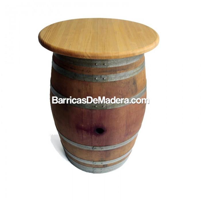 Barrica-mesa (con tapa) de 225 litros - Acabado: barniz incoloro