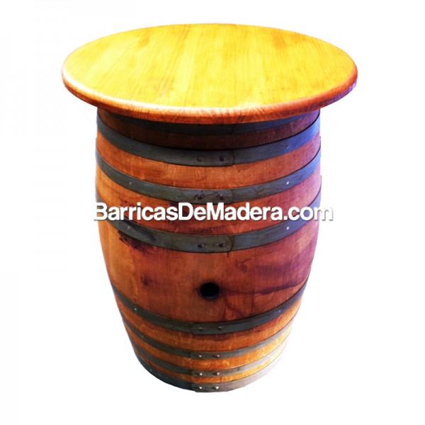 Barrica-mesa (con tapa) de 225 litros - Acabado: barniz roble